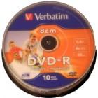 Verbatim DVD-R 8cm 1.4GB WHITE  INKJET 10UND.