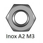 Hexagon nut DIN 934 Inox A2 M3