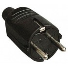 Black schuko plug 250VAC 16A black rubber