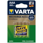 NiMh AAA Rechargeable Batteries 950mAh 1.2V - blister pack 4 pcs. Varta Endless 56683