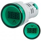 LED Digital Voltmeter Round Green Panel AC12-500V