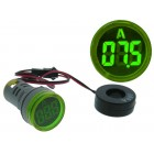 Green Round LED Digital Ammeter for Panel (0 ... 100 Amp.)