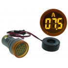 yellow Round LED Digital Ammeter for Panel (0 ... 100 Amp.)