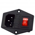 IEC 320 / C14 plug (male) 3pin 10A panel with light switch + fuse
