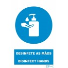 Signaling plate PVC '' Disinfect your hands ''150x200mm (portuguese)